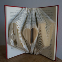 First Wedding anniversary Gift-Initial Folded Book Art-wedding decor/gift for him/her-