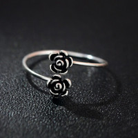 925 sterling silver Thai silver adjustable Rose Ring
