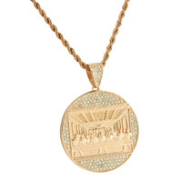 Rose Gold Finish Last Supper Pendant Jesus Iced Out Lab Diamonds Stainless Steel Box Necklace
