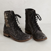 Coin Collage Lace-Up Boots