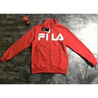 FILA Women Men Zipper Long Sleeve Zipper Sweater Coat Red I-A001-MYYD