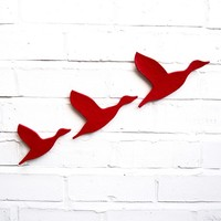 Ceramic wall art Flying ducks Set of three bright scarlet red flying ducks Modern retro artwork for bathrooms, kitchens and living spaces