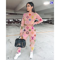 LV Louis Vuitton Fashion Women Casual Print Top Pants Trousers Set Two-Piece Sportswear 2#