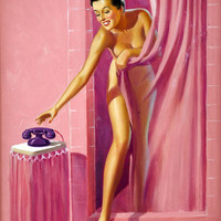 Pin-Up Girl Wall Decal Poster Sticker - Brunette in Shower - Pinup Pin Up
