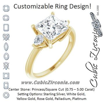 Cubic Zirconia Engagement Ring- The Zhata (Customizable 3-stone Princess/Square Style with Pear Accents)