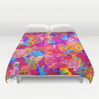FLORAL FANTASY Bold Abstract Flowers Acrylic Textural Painting Neon Pink Turquoise Feminine Art Duvet Cover by EbiEmporium