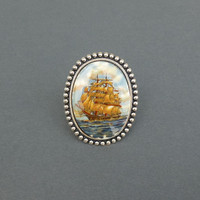 vintage tall ship cocktail ring in silver