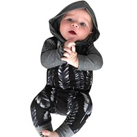 born Infant Baby Boys Girls Romper Long Sleeve Warm Clothes Hooded Jumpsuit Clothes Outfit For Baby Boy Girl