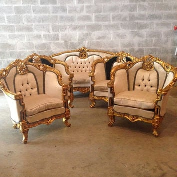 Antique French Louis XVI 5 Piece Chair Bergere Wingback Champagne Black Velvet Tufted Rococo Baroque Sofa Couch Settee Gold Leaf Frame