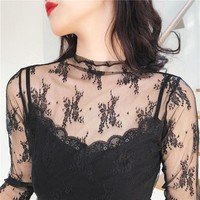 Soft lace 2018Summer Womens Tank tops T-Shirt Sexy Lace Vest Top Crochet transparent Vest Camisole Black Sleeveless Shirt Blouse
