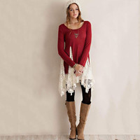 Plus Size Long Sleeve Knit Dress with Lace