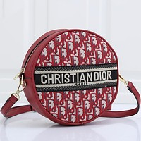 Dior CD classic zipper round bag ladies shoulder messenger bag