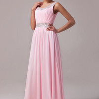 Pink Sleeveless Sequins Ruched Flounce Maxi Dress