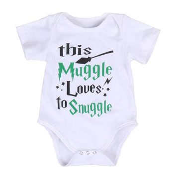Cotton Infant Baby Boy Girl Bodysuit Harry Potter Letter Printed Short Sleeve Clothes Outfits