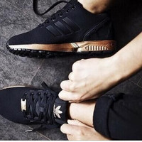 ADIDAS ZX Flux Women Running Sport Casual Shoes Sneakers Black golden