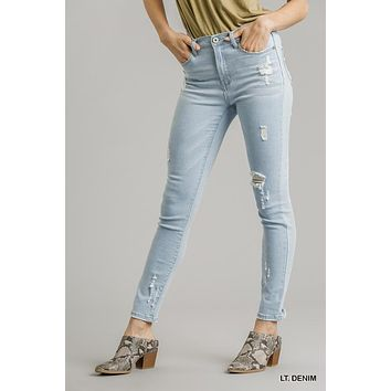 Umgee Light Wash Distressed Stretchy Skinny Jeans