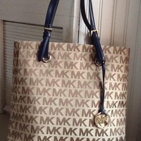 Michael Kors Bag XLarge Brown MK Signature Tote EUC Navy Blue Leather Handles
