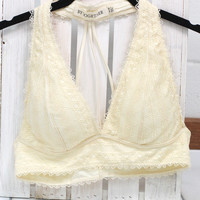 V-neck 3 String Cage Back Padded Bralette {Cream}