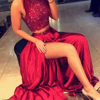 Two Pieces Red Prom Dresses 2017 High Neck Beads Crystals Long Satin High Slit Women Formal Party Dress Graduation Gowns WH97