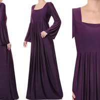 Purple Empire Square Neckline Jersey Long Sleeves Abaya Maxi Dress - Size M/L or 1X/2X (3542/2348) FREE SHIPPING