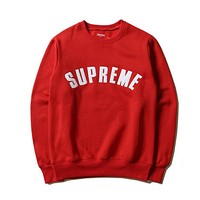 SUPREME Fashion Casual Long Sleeve Sport Top Sweater Pullover Sweatshirt Red