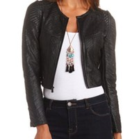 Zip-Up Cropped & Paneled Faux Leather Jacket - Black