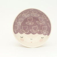 Purple ceramic bowl - purple serving bowl - gift idea - face plate - Baby shower gift - home decor - serveware - MADE TO ORDER