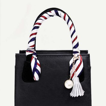 Faux Pearl & Tassel Charm Bag With Twilly Scarf