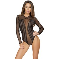 Sexy Kim Long Sleeved Mesh Striped Bodysuit With Cut-out Back