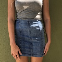 Free People Modern Femme Skirt - Faded Indigo