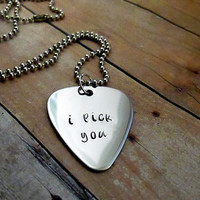I pick you - Hand Stamped Guitar Pick Necklace - mens necklace
