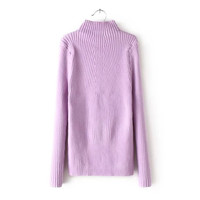 Plain Turtleneck Long Sleeve Knitted Sweater