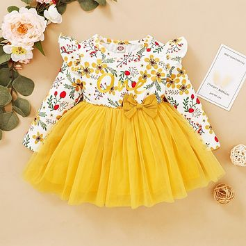 Ruffle Floral Baby Girl Dress Summer Lace Long Sleeve Tutu Dresses for Kids Girl Casual Toddler Clothing Infant Dress D20
