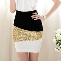 Black and white with gold sequins tight skirt