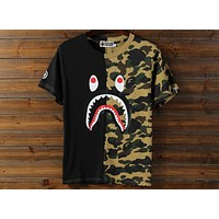 Bape Summer Tide brand shark personality stitching camouflage printed short-sleeved T-shirt F-A-KSFZ Black + camouflage