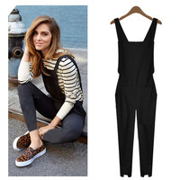 Plus Size rompers womens jumpsuit Sleeveless backless tank Elastic Waist coveralls black Romper Playsuit 2016 Summer M-XL