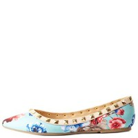 Aqua Combo Studded Floral Pointed Toe Flats by Charlotte Russe