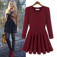 Plain Long-Sleeve Skater Dress