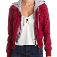 Layered & Hooded Bomber Jacket by Charlotte Russe