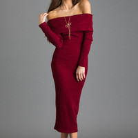 Sammy Burgundy Off the Shoulder Fitted Sweater Dress