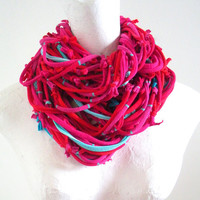 Hot Pink Red Infinity Scarf Turquoise Accents Upcycled Valentine Circle Scarf Chunky Winter Accessories Cowl Scarf Bright Colors Knotty Bits