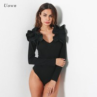 Fall Long Sleeve Ruffle Bodysuit Tops Women Sexy Plunge V Neck Black Leotard Full Body Suit Autumn Ribbed Bodysuits Playsuits