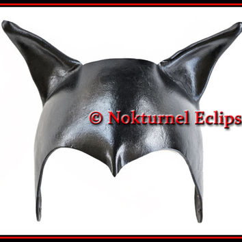 Catwoman Leather Cat  Mask Cat Ears Hat Headpiece Super Hero Batgirl Batman Comic Con DragonCon Cosplay Halloween Costume
