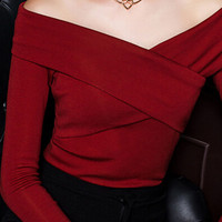 Red Off The Shoulder Wrap Front T-shirt