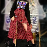 Japanese Harajuku Retro Red Plaid Punk Rock Asymmetrical Long Skirt