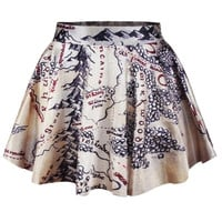 Fashion Women Retro Vintage Digital Print Middle Earth Map Skater Skirt (Size: M, Color: Multicolor) = 1946563268