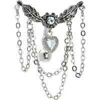 Crystalline Ivy Heart Chandelier Top Drop Belly Ring | Body Candy Body Jewelry