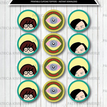Printable Cupcake Toppers, 90s kid, Daria Inspire, Jane, Sick Sad World, You're Standing on My Neck, DIY, Party, Birthday,  INSTANT DOWNLOAD