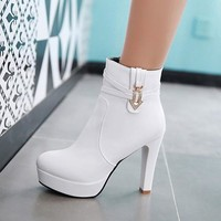 New Women White Round Toe Chunky Rhinestone Casual Ankle Boots