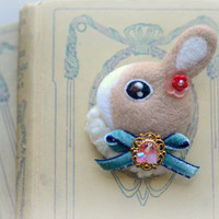 Handmade needle felt rabbit brooch, jeweled rabbit pin, whimsical animal brooch, lolita accessories, children jewelry, gift under 25